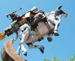 rocket powered flying cow