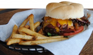 The Celestial Burger served at Lucky 13 Bar and Grill: 135 West 1300 South