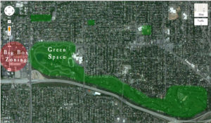 GOOD: Green space from parks and golf courses creates destinations and encourages walking and cycling. Centralized big box zoning produces more areas suited for walkers and bikers.