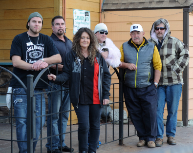 "Left to right: Brandon Henderson, Jim Stojack (Canyon Inn owner), Lani Roberts (7/11 owner), Byron Lovell (Porcupine Pub owner), Dave Larsen (Lifthouse owner), and Bryan O""Meara (Porcupine Club owner)"
