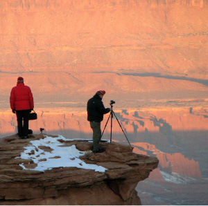 Environmentalist Glen Lathrop and filmmaker Bill Mitchell, at sunrise.  Opposite page:  Scenes from Help protect Greater Canyonlands in Utah  which can be found at GrandCayonTrust.org