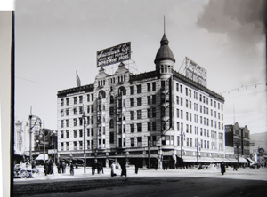 Auerbach's on the northeast corner of 300 South State later became Center Theater formerly Knudsford Hotel