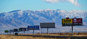 A shot of the many billboards along I-80