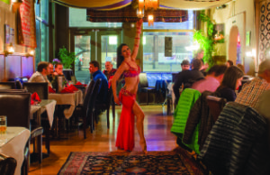 A Cedars of Lebanon belly dancer entertains guests.