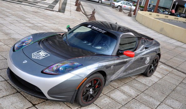 A Telsa Motors Roadster, the first highway-capable all electric vehicle to be mass produced