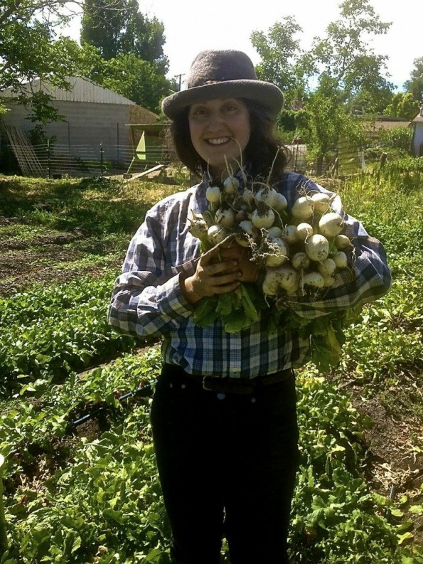 Alexandra Parc picks a fresh crop of turnips