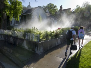lawn watering in the University Hill area of SLC