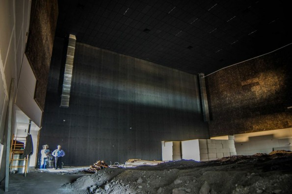 The unfinished IMAX will stand almost five stories tall in a house that holds almost 500 viewers.