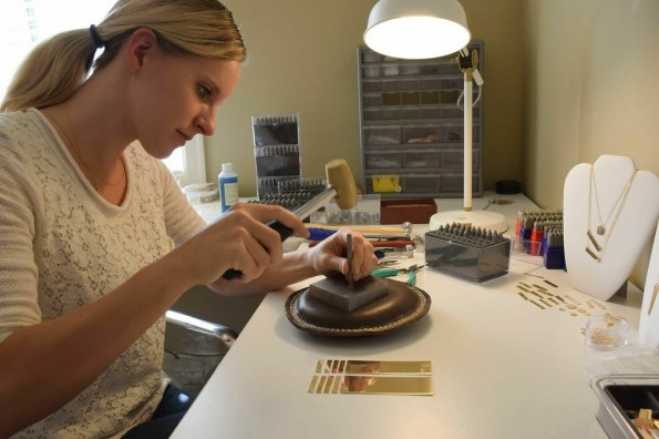 Artist and stamper Mary Moody at her home workspace.